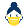 Person with hair bun wearing a mask icon